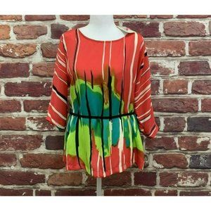 BEIGE BY ECI MULTICOLOR ABSTRACT PRINT TOP BLOUSE